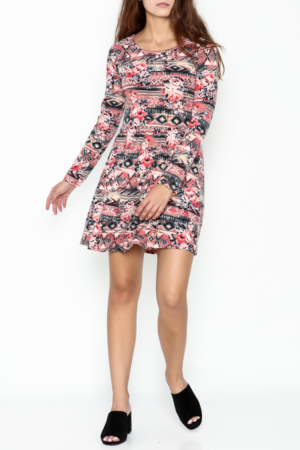 Everly Tribal Print Dress - Side Cropped Image