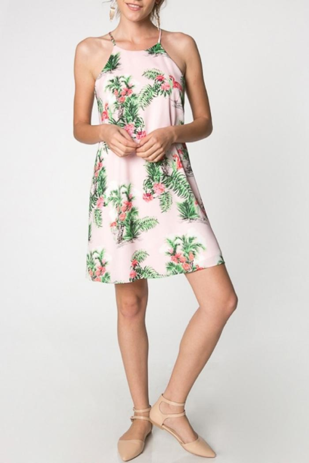 Everly Tropical Flamingo Dress - Front Full Image