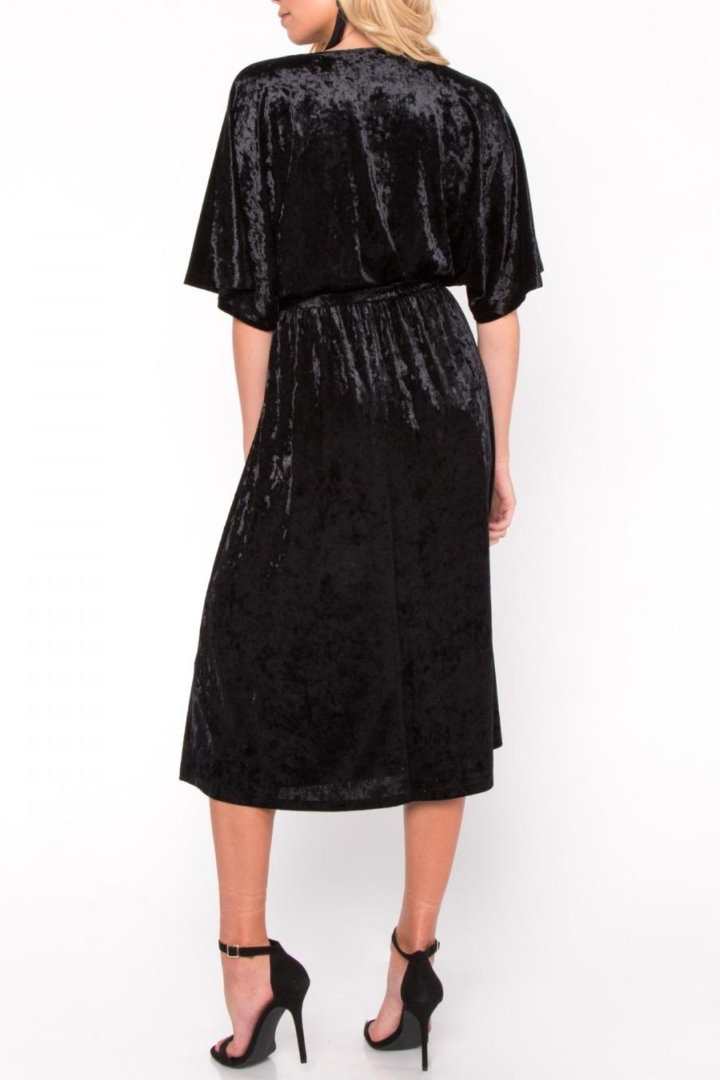 Everly Velvet Wrap Midi Dress - Side Cropped Image