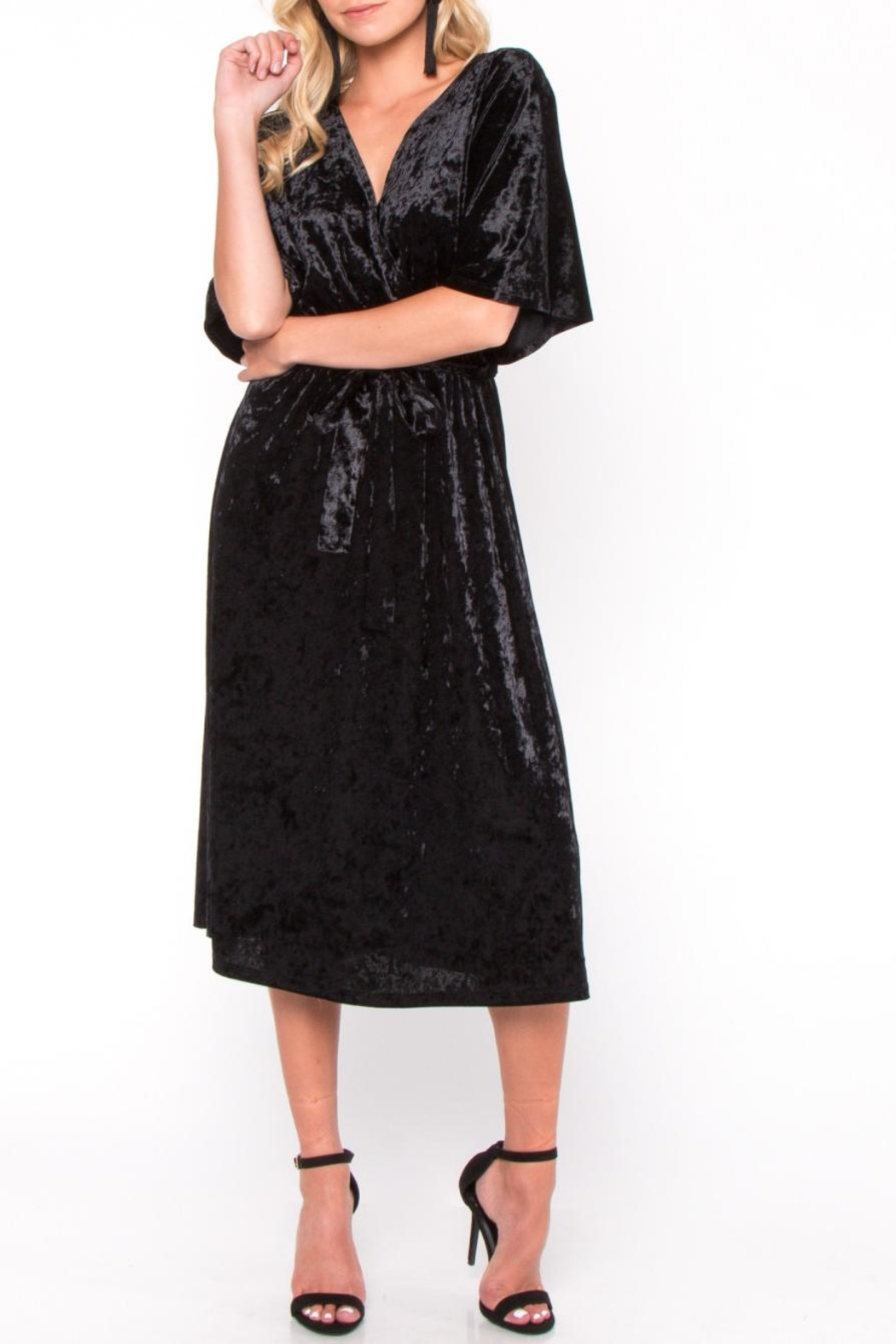 Everly Velvet Wrap Midi Dress - Main Image