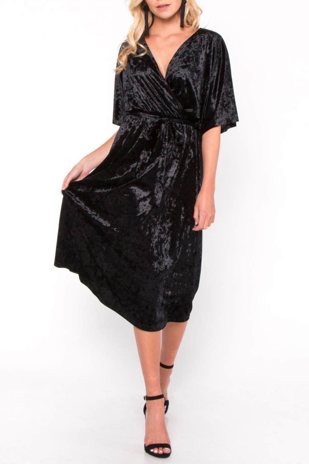 Everly Velvet Wrap Midi Dress - Front Full Image