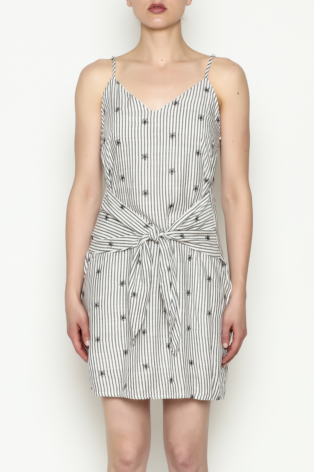Everly Waist Tie Dress - Front Full Image