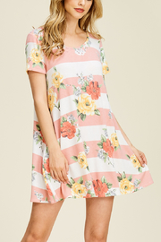 White Birch  Everyday Floral & Stripe T-Dress - Product Mini Image