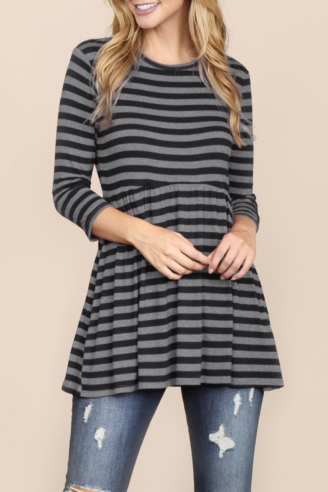 Riah Fashion Everyday-Half-Inch Striped-Tunic - Main Image