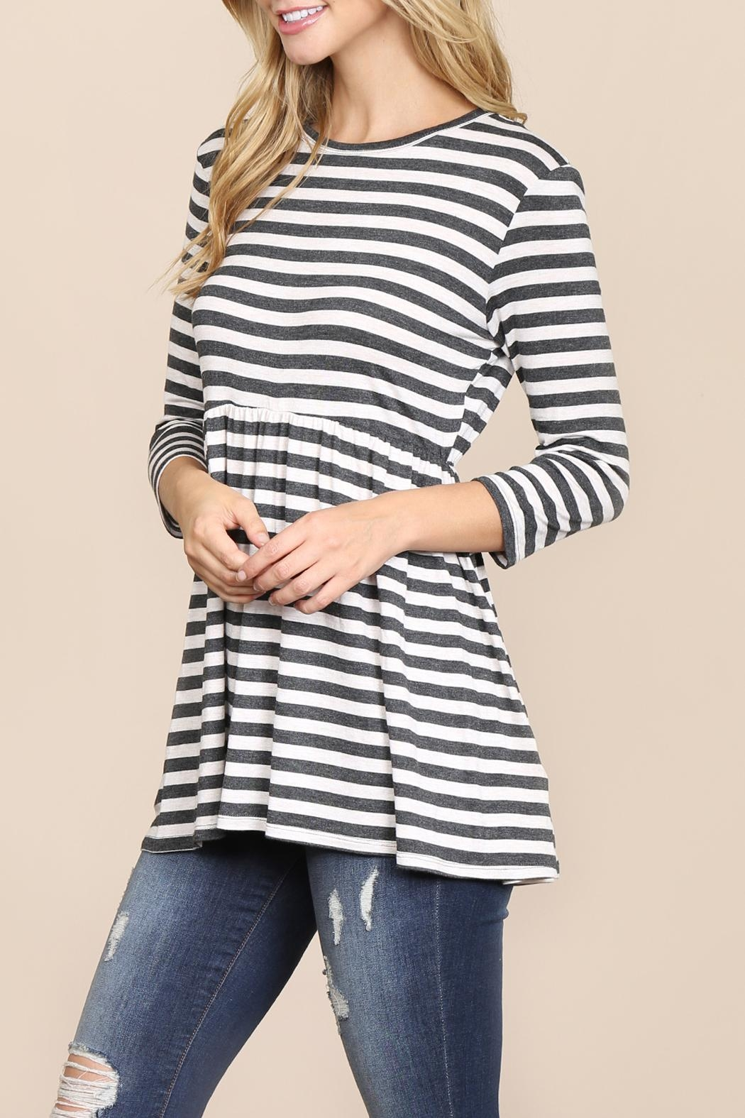 Riah Fashion Everyday-Half-Inch Striped-Tunic - Front Full Image