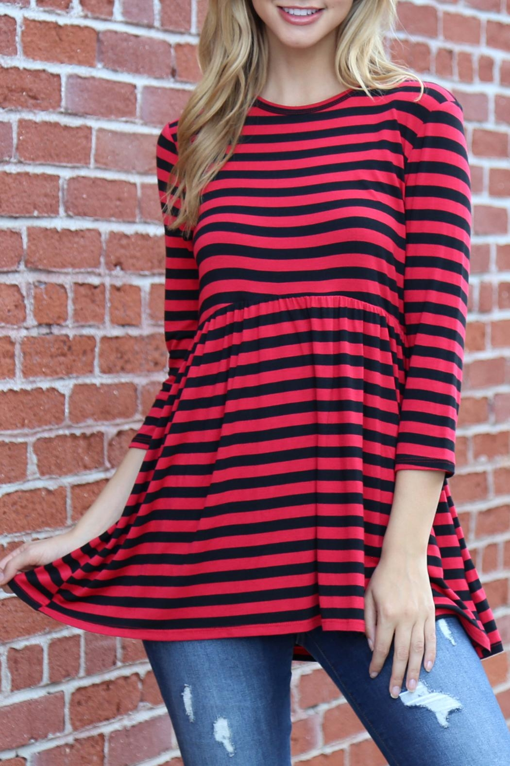Riah Fashion Everyday-Half-Inch Striped-Tunic - Back Cropped Image