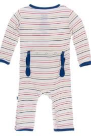 Kickee Pants Everyday Heroes Multi Stripe Zipper Coverall - Front full body