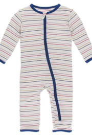 Kickee Pants Everyday Heroes Multi Stripe Zipper Coverall - Product Mini Image