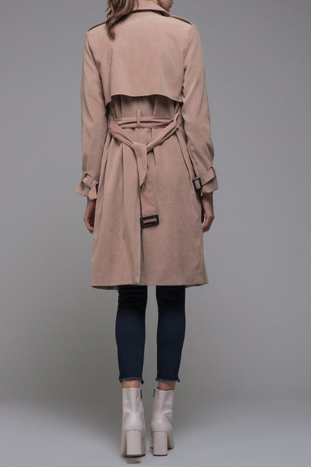 EVIDNT Beige Classic Trench - Back Cropped Image
