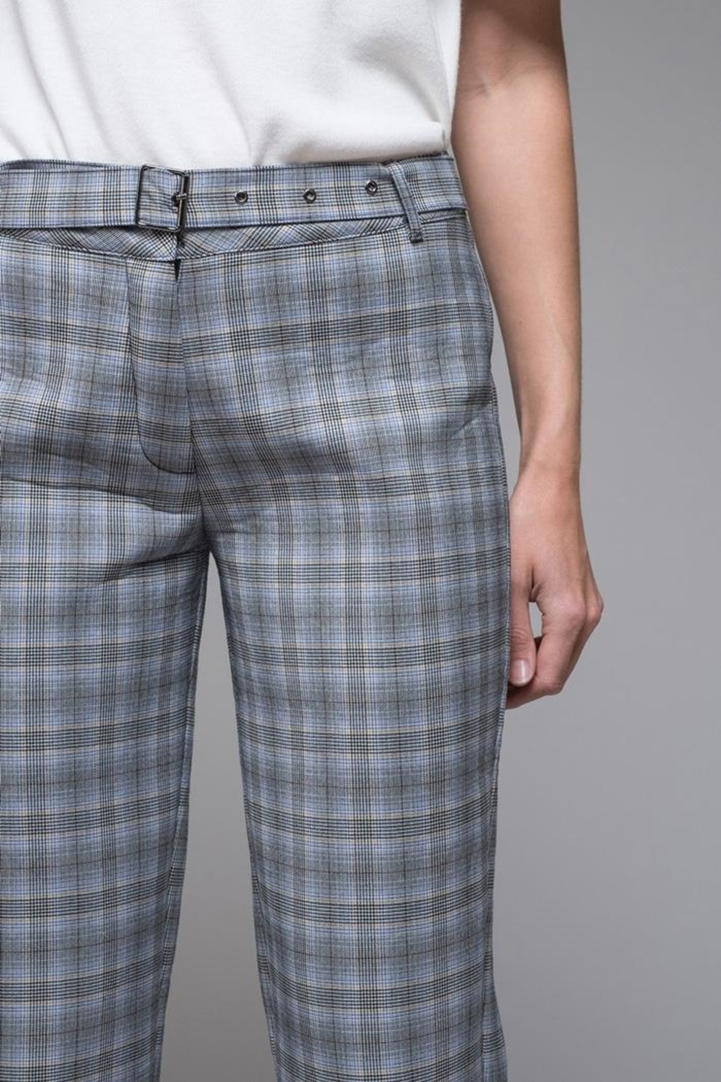 EVIDNT Blue Plaid Pant - Front Full Image