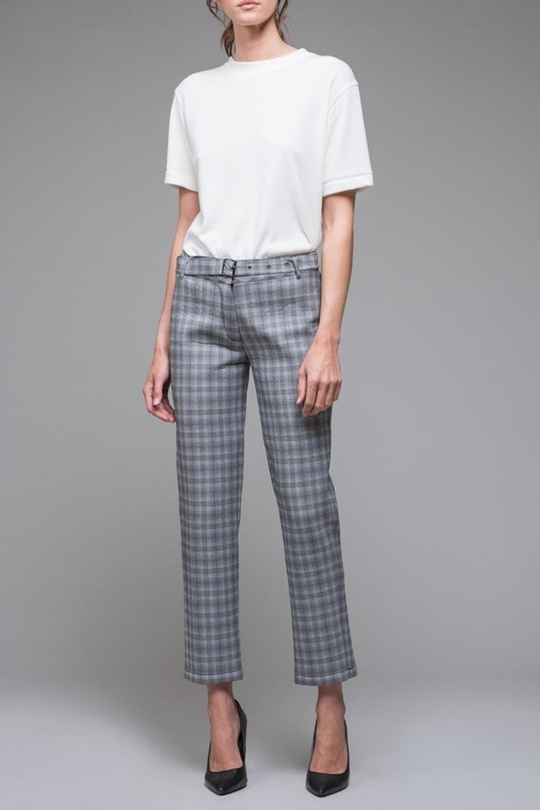 EVIDNT Blue Plaid Pant - Front Cropped Image