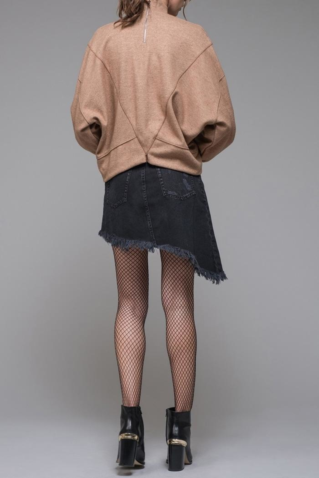 EVIDNT Denim Fringe Skirt - Side Cropped Image