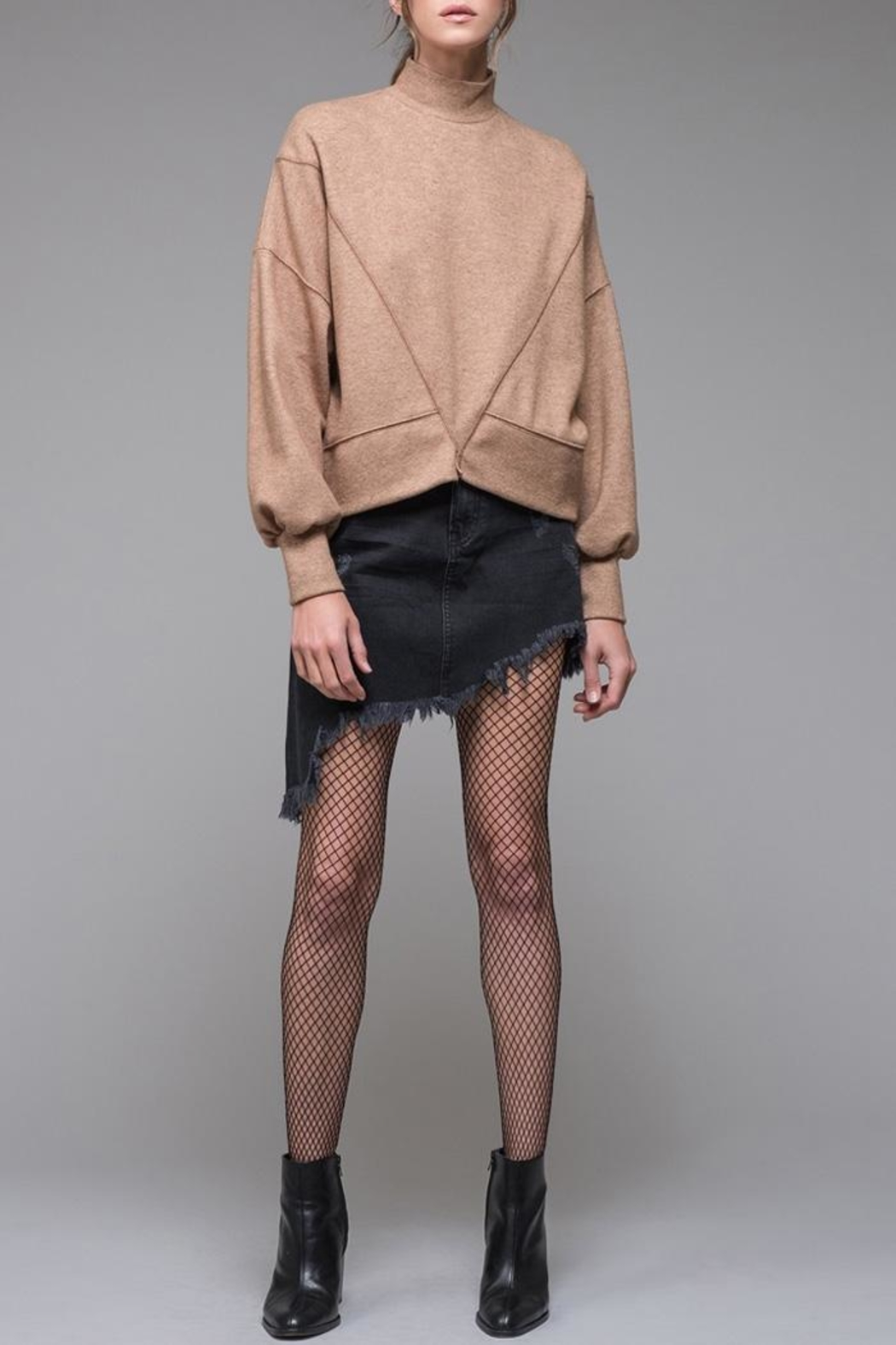 EVIDNT Denim Fringe Skirt - Main Image
