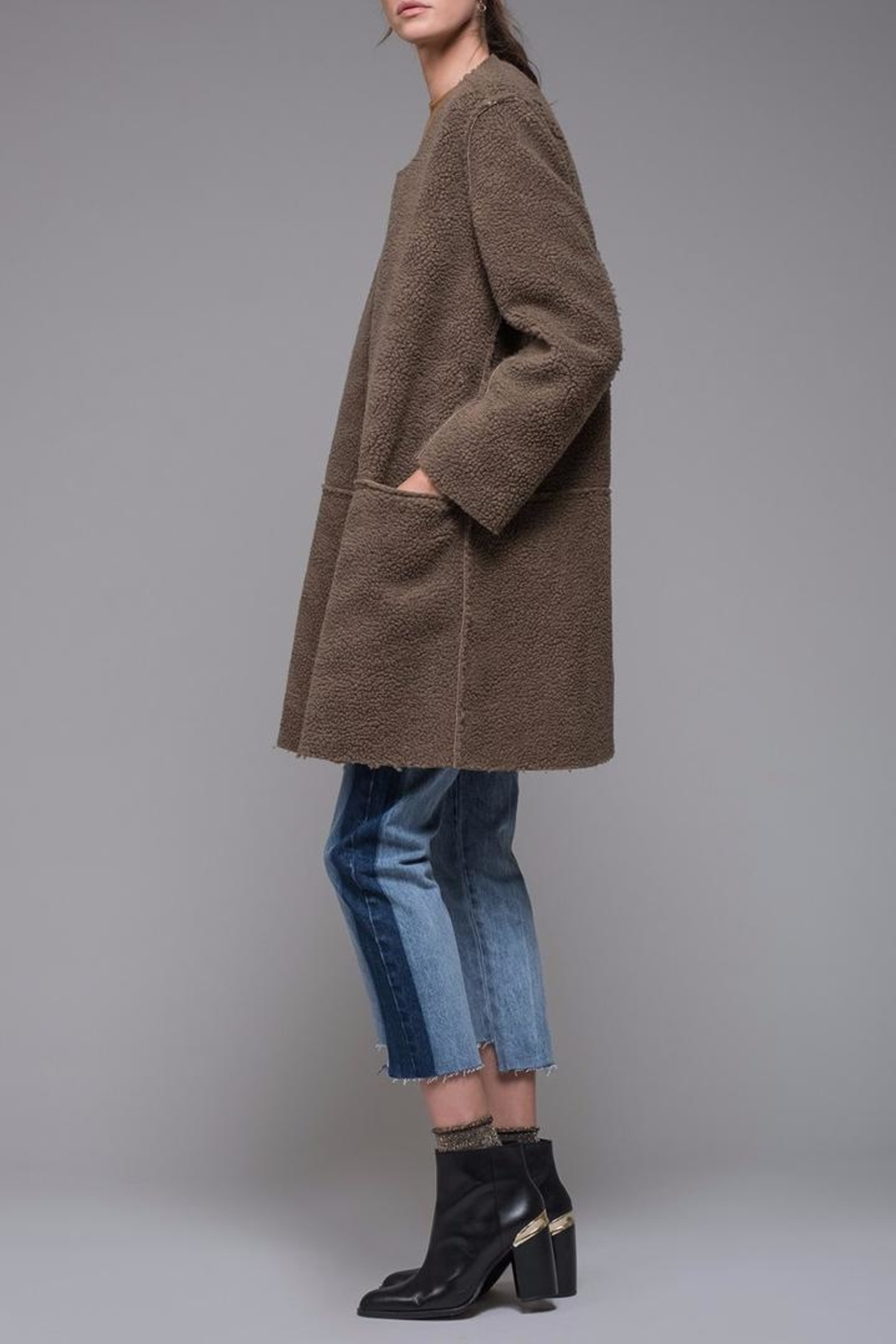 EVIDNT Reversible Shearling-Suede Coat - Front Full Image