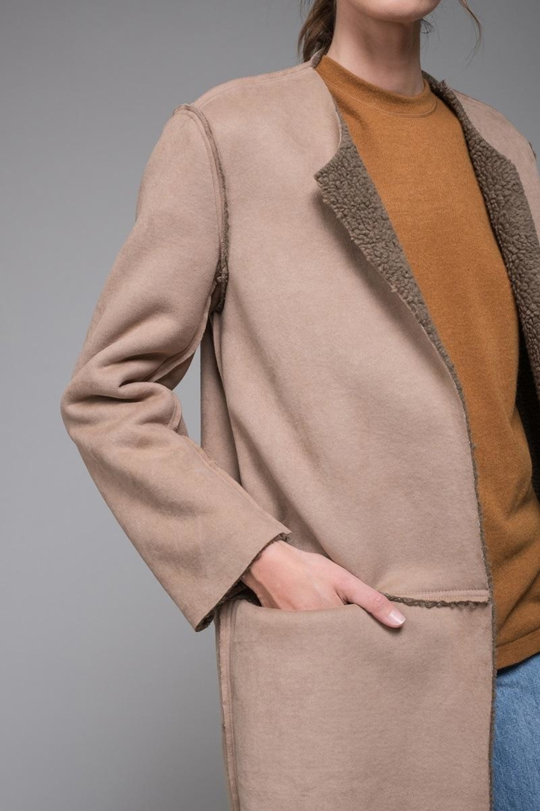 EVIDNT Reversible Shearling-Suede Coat - Back Cropped Image