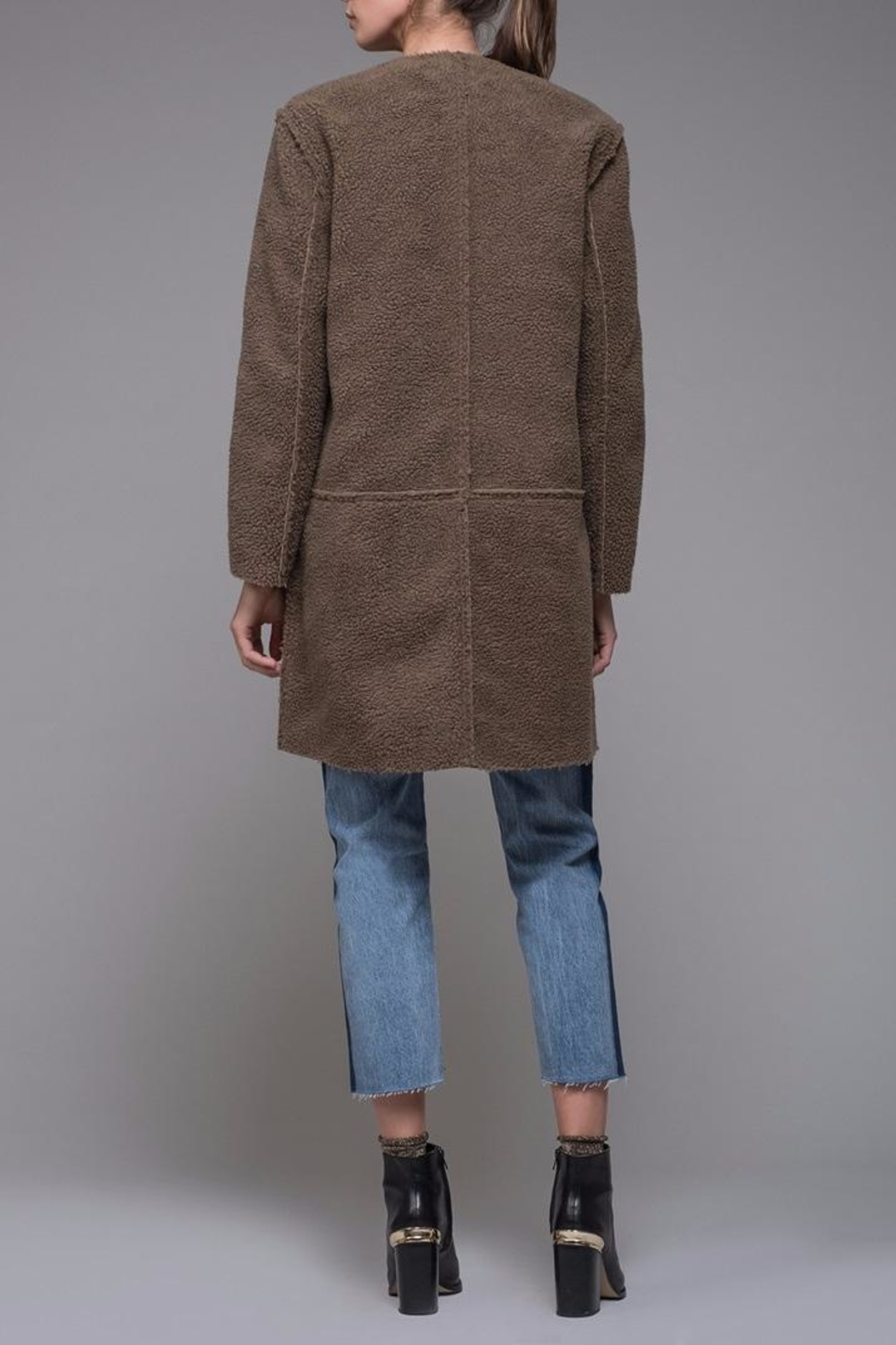EVIDNT Reversible Shearling-Suede Coat - Side Cropped Image