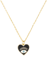 FAME ACCESORIES Evil Eye Heart Necklace - Product Mini Image