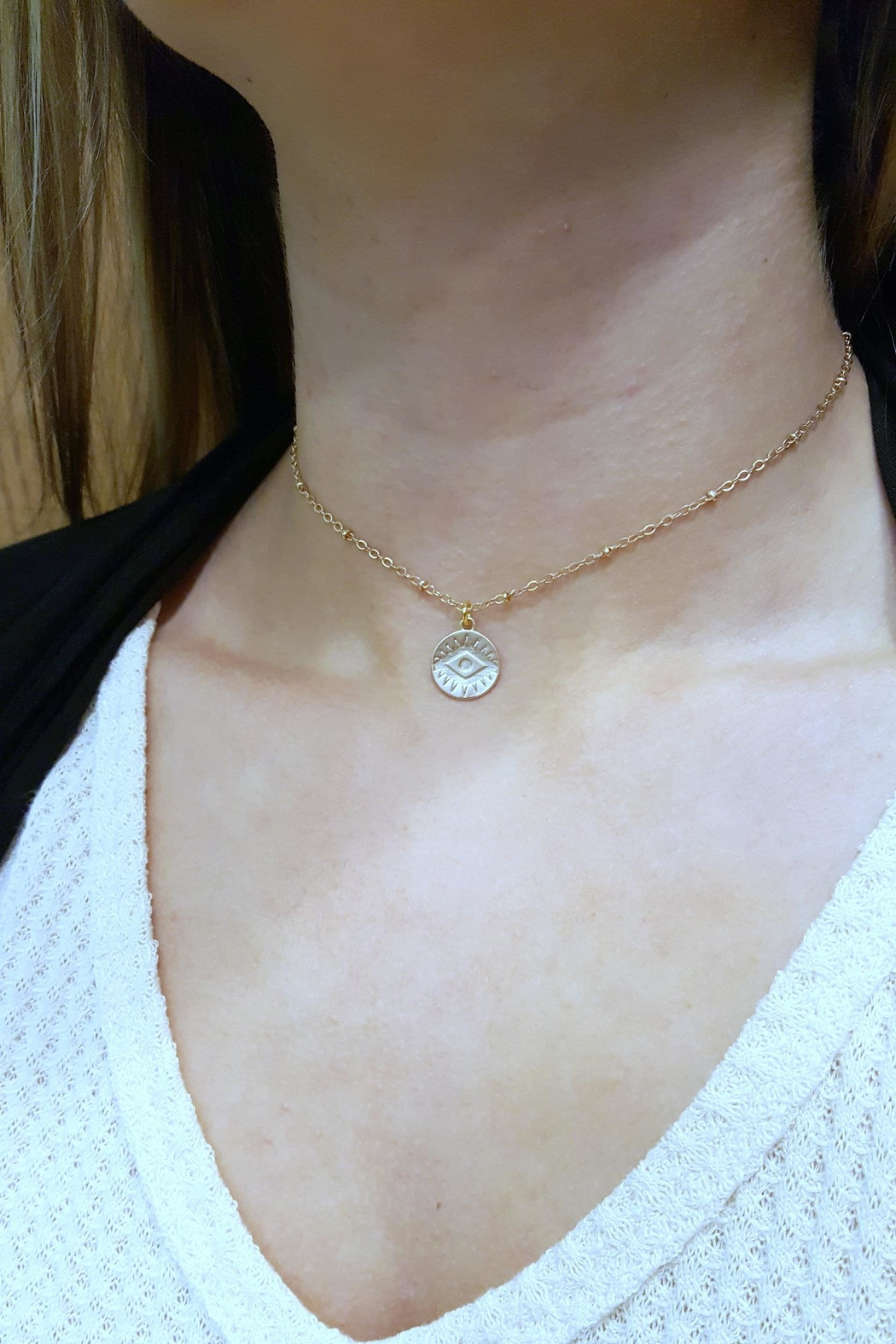 Simply Chic Evil Eye Necklace - Front Full Image