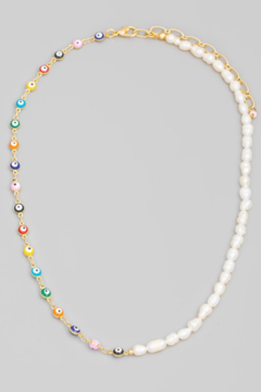 Shoptiques Product: Evil Eye & Pearl Beaded Necklace