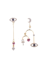 Fashion Pickle Evileye Statement Earrings - Front cropped