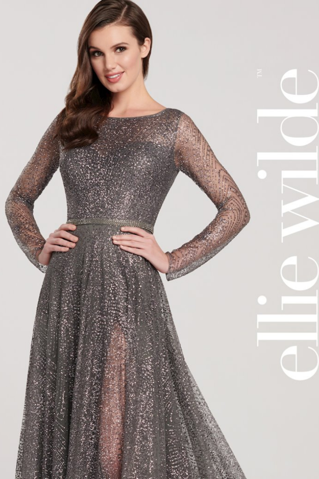Ellie Wilde EW119003 - Lace With Sleeve Prom Dress - Front Cropped Image