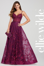 Ellie Wilde ew119032 - Long Lace Prom Dress - Front cropped