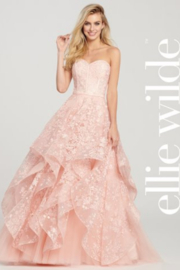 Ellie Wilde ew119033 - Strapless Layered Prom Gown - Front cropped