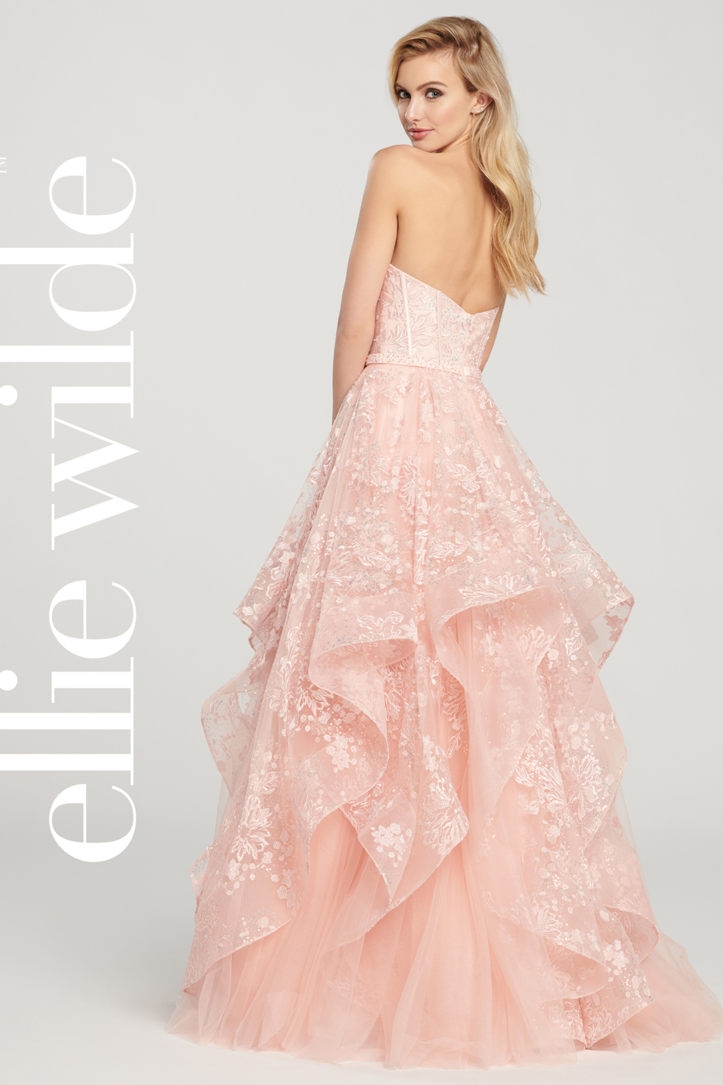 Ellie Wilde ew119033 - Strapless Layered Prom Gown - Front Full Image