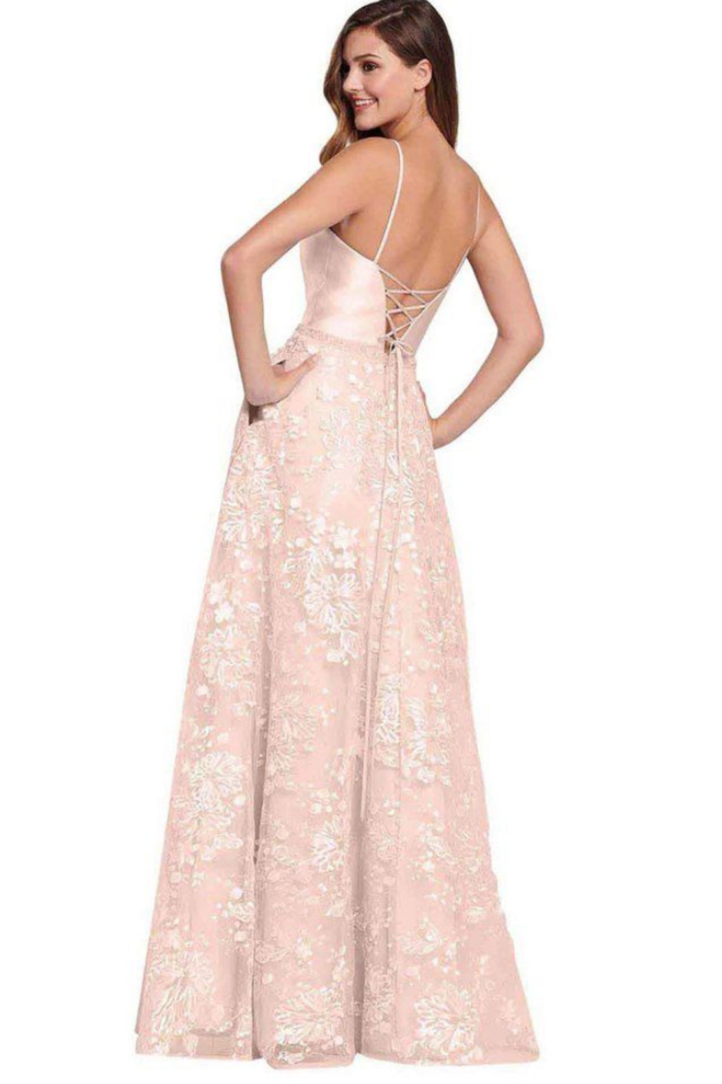 Ellie Wilde ew119037 - Long Lace Prom Gown - Front Cropped Image