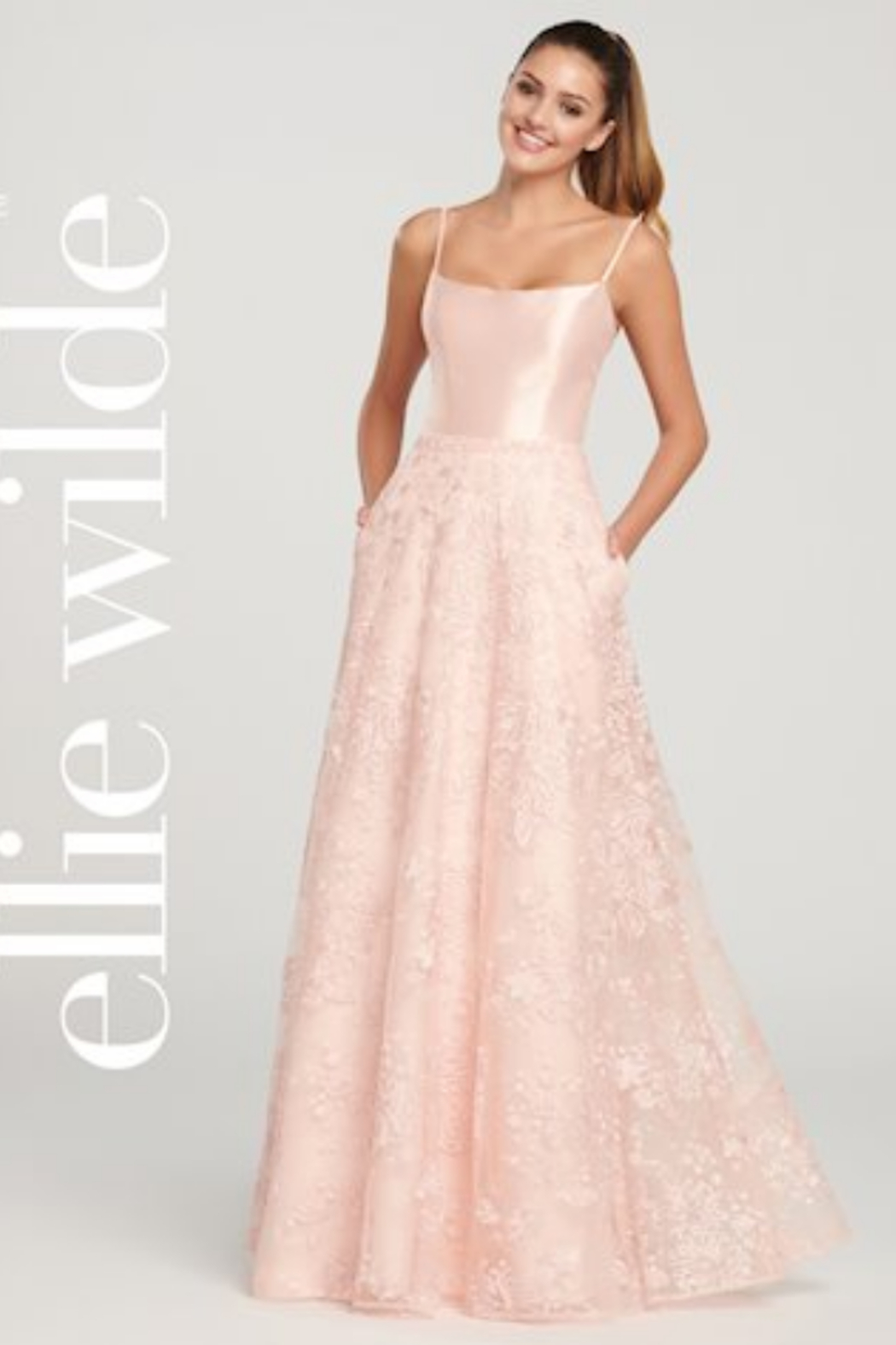 Ellie Wilde ew119037 - Long Lace Prom Gown - Front Full Image
