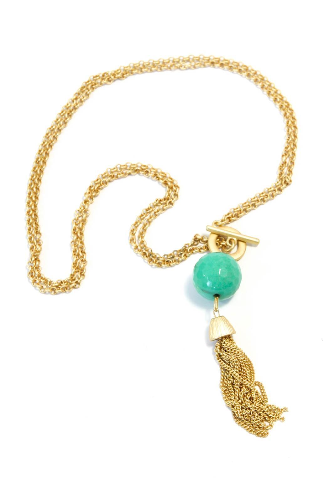 Exclusively Leslie Amazonite Tassel Necklace - Main Image