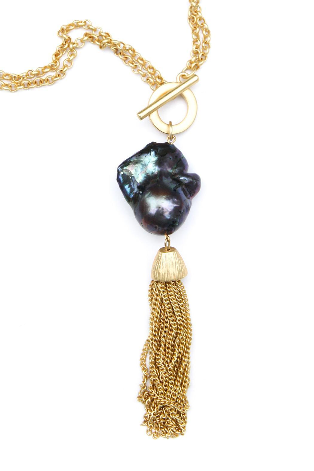 Exclusively Leslie Baroque-Pearl-Gold Tassel Necklace - Front Full Image