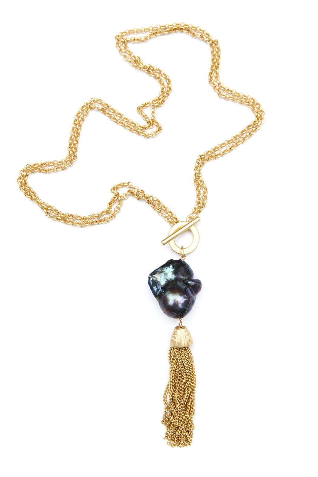 exclusively leslie baroque pearl gold tassel necklace from