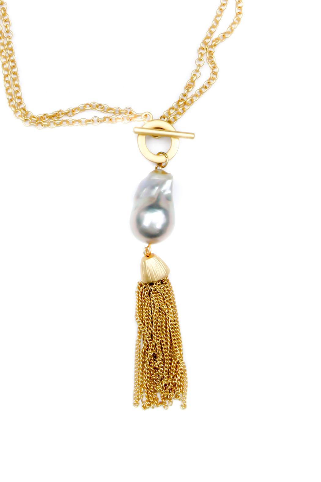 Exclusively Leslie Baroque-Pearl-Gold Tassel Necklace from ...