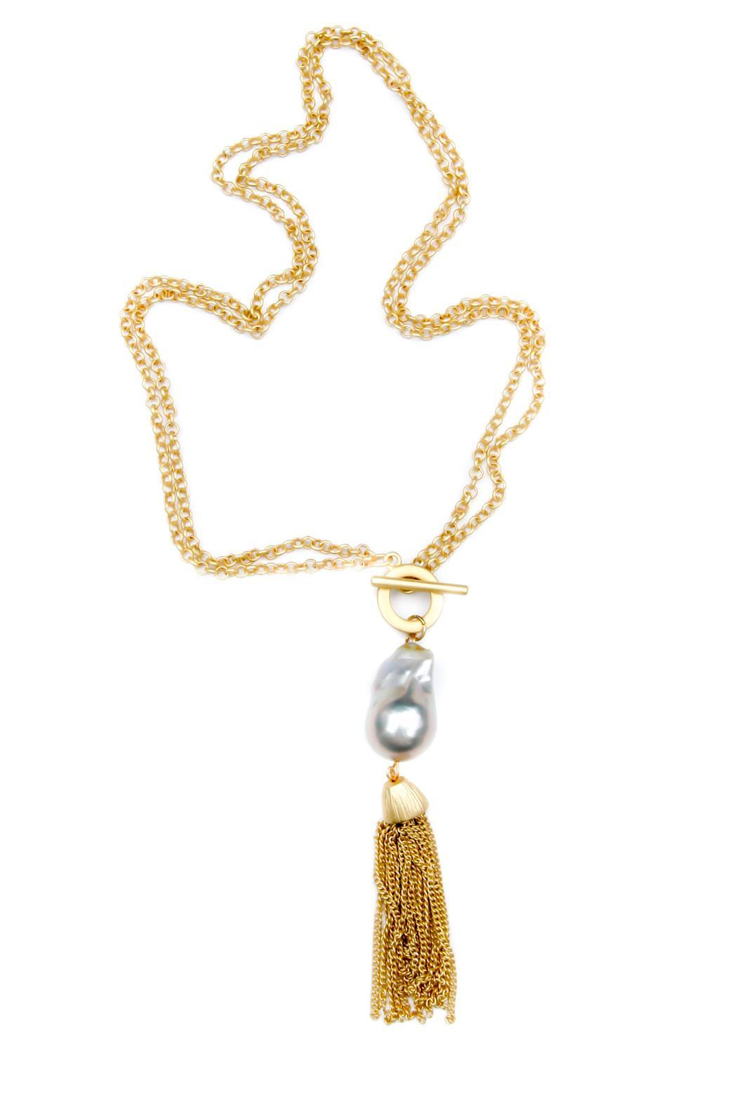 Exclusively Leslie Baroque-Pearl-Gold Tassel Necklace - Front Cropped Image