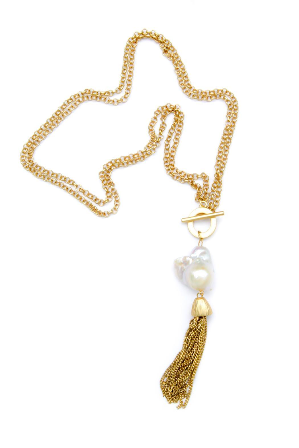 Exclusively Leslie Baroque-Pearl-Gold Tassel Necklace - Main Image