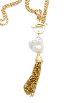 Exclusively Leslie Baroque-Pearl-Gold Tassel Necklace - Alternate List Image