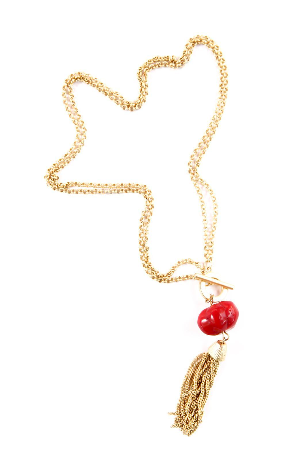 Exclusively Leslie Red-Pumpkin-Coral Tassel Necklace - Main Image