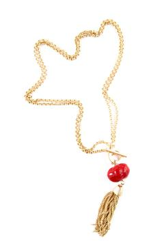 Exclusively Leslie Red-Pumpkin-Coral Tassel Necklace - Alternate List Image