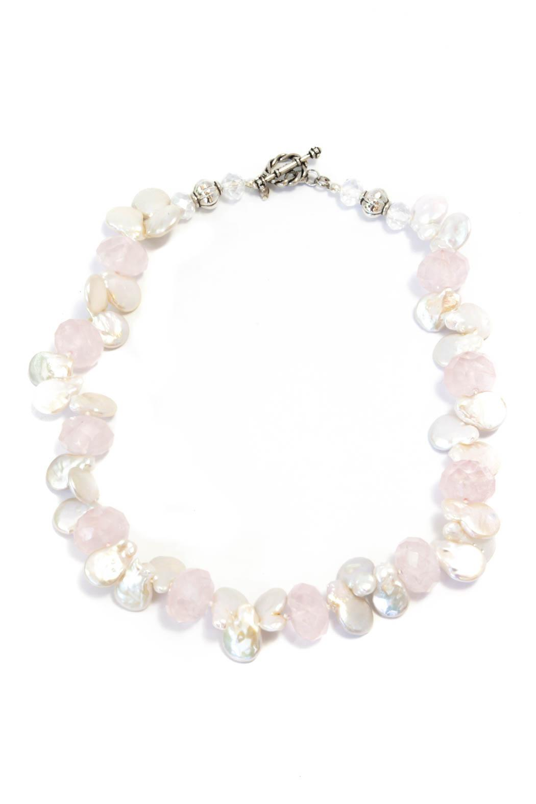 Exclusively Leslie Rose Quartz-Pearl Necklace - Main Image