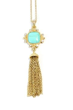 Exclusively Leslie Turquoise Tassel Necklace - Alternate List Image