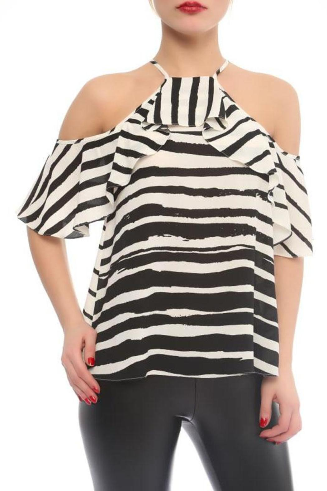 Explosion Striped Cold Shoulder Top - Front Cropped Image