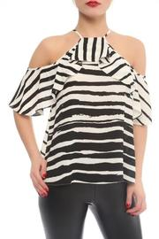 Explosion Striped Cold Shoulder Top - Product Mini Image