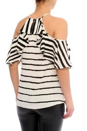 Explosion Striped Cold Shoulder Top - Front full body
