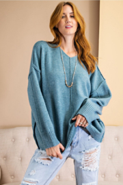easel  Exposed Seam V-Neck Pullover - Product Mini Image