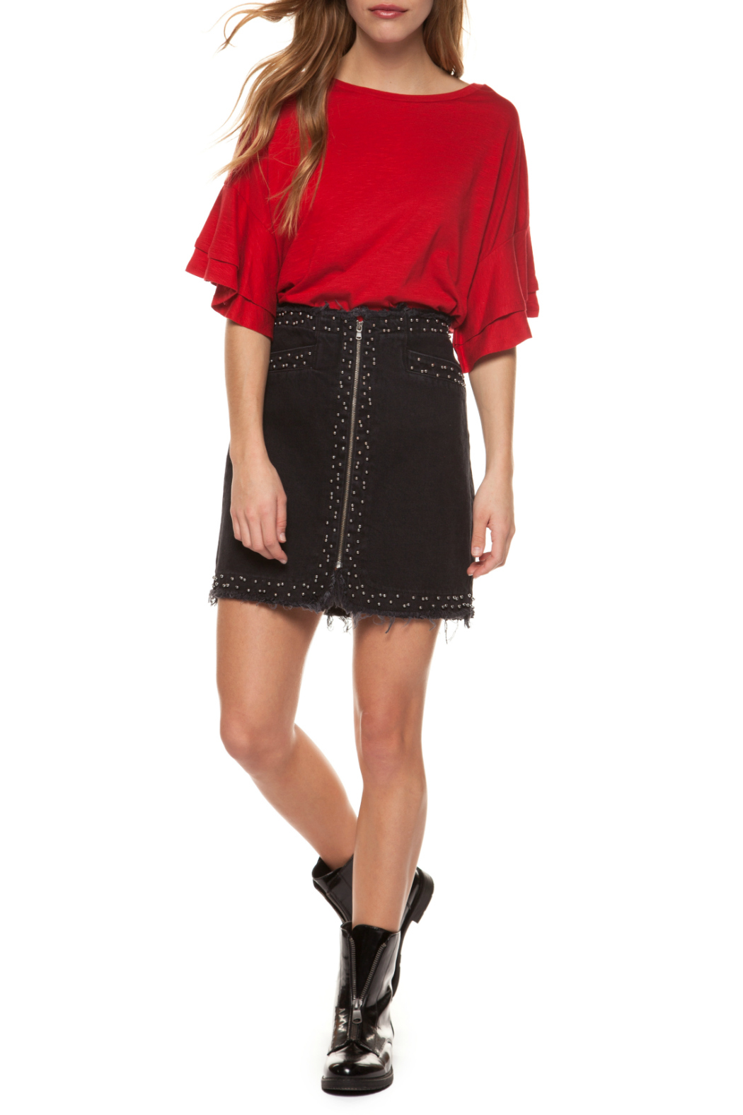 Dex Exposed Zipper Skirt w Studs - Front Cropped Image