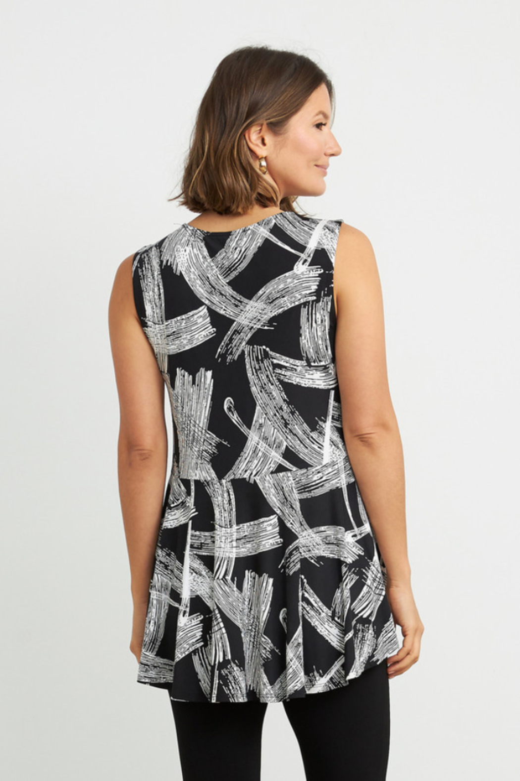 Joseph Ribkoff  Eye-catching, etching-inspired print v-neck, sleeveless top. Accented with a shimmering zip detail. - Front Full Image