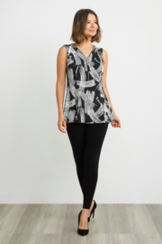 Joseph Ribkoff  Eye-catching, etching-inspired print v-neck, sleeveless top. Accented with a shimmering zip detail. - Back cropped