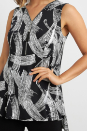 Joseph Ribkoff  Eye-catching, etching-inspired print v-neck, sleeveless top. Accented with a shimmering zip detail. - Side cropped
