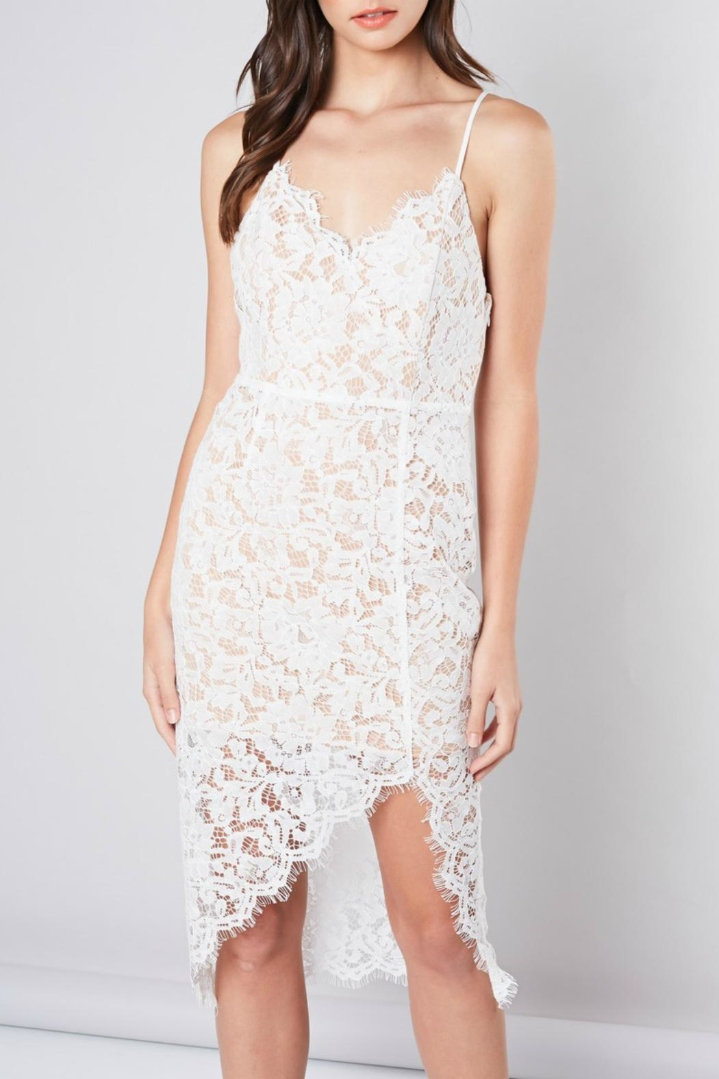Pretty Little Things Eyelash Lace Dress - Front Cropped Image
